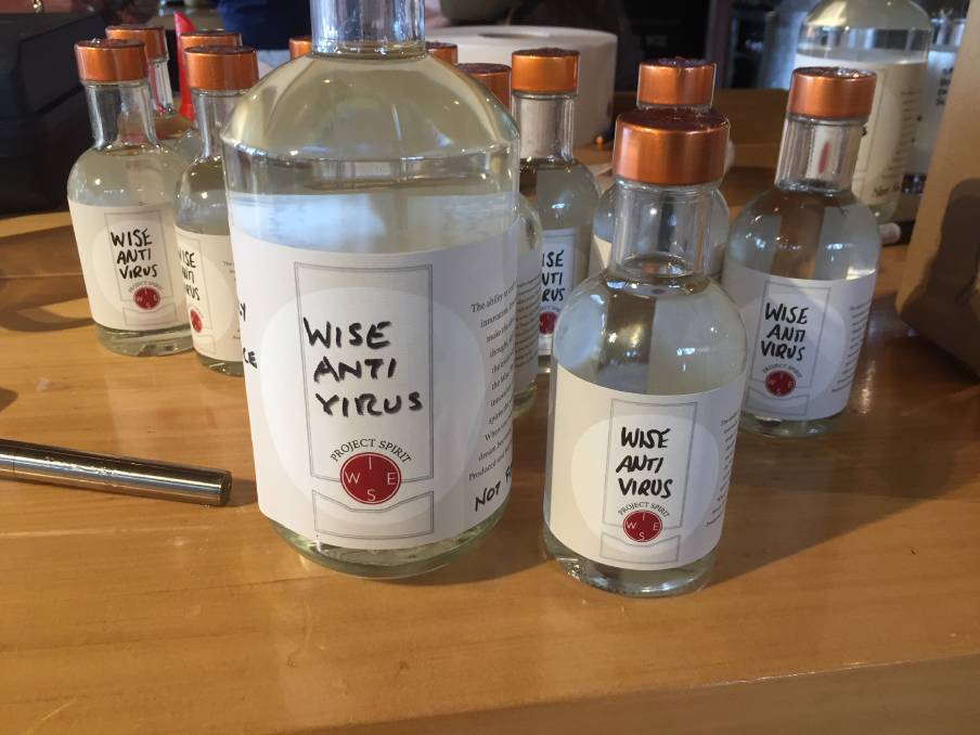 Wise Wine go into 24-hour production to produce Wise Anti Virus hand sanitiser and surface spray using 70 per cent ethanol originally earmarked for gin. Image supplied.
